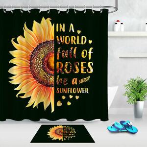 "Sunflower Art Painted Gold & Black Fabric Shower Curtain Set Bathroom Decor 72"""