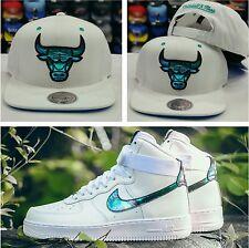 Matching Mitchell Ness Chicago Bulls Snapback Hat Nike Air Force 1 Iridescent