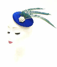 Royal Blue Green Peacock Feather Fascinator Pillbox Hair Races Hat Vintage 2234