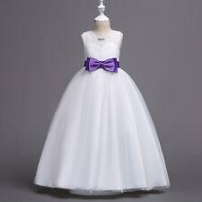 Girl Lace Bridesmaid Wedding Birthday Long Dress Party Princess Kids Dresses New