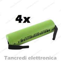 4X batteria litio li-ion icr lir 18650 3.7v 2600mAh con terminali a saldare tabs