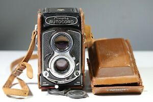 minolta autocord camera rokkor 1:3.5 75mm with case