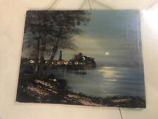 2 Bilder Öl Gemälde Italien Hafen Meer 53 x 42 cm um 1950 Leinwand Antik alt