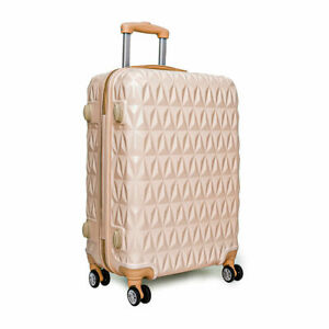 """Large 28"""" 4 Wheel ABS Hard Shell Checked Check In Hold Lugagge Suitcase RoseGold"""