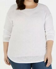 inc plus size Pointelle Crewneck Sweater 2X