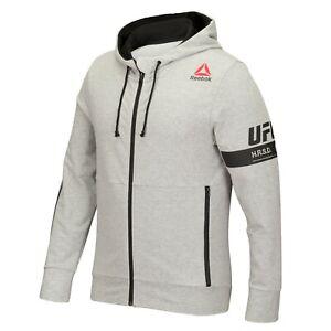 Reebok UFC Men's Grey Fan Gear Speedwick Perf. Full-Zip Hoodie Fleece AY5227