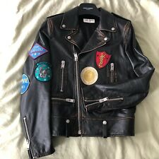 Saint Laurent Patch Leather Biker Jacket Mens Size UK36 RRP £3650 Worn Once RARE