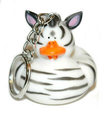 BLACK & WHITE ZEBRA RUBBER DUCK SPLIT RING KEY CHAIN (KC060)