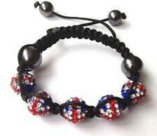 Childrens GB Union Jack Drapeau Shamballa Disco bracelet-5 beads-czech crystal-uk