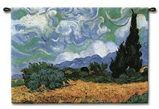 VAN GOGH WHEATFIELDS WITH CYPRESS ART TAPESTRY WALL HANGING LARGE 52x40