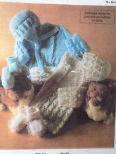 Tejer patrón para Babys matiné Abrigo, casco Patucos & Bonnet 4ply Prem Tamaños