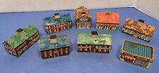 Seven Vintage Small Wood & Printed Cardboard Village Houses