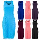 Womens Full Floral Laced Bodycon Ladies Sleeveless Celebrity Pencil Midi Dress