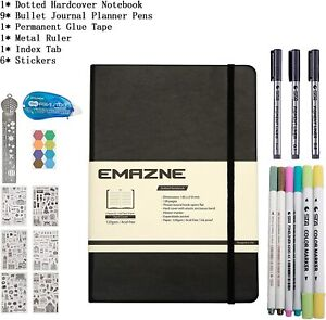 Black Bullet Journal Kit  A5 Notebook 120gsm Acid-free Paper,Dotted Page