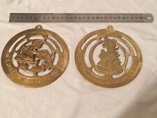 "2 Vintage Brass ""Its Pleasant to Labour for those we Love"" Plaques."