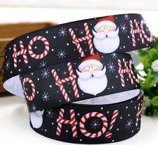 1 Metre Black Christmas Grosgrain Ribbon 25mm Crafts/Party/Cake/Hair/Bows/Gift