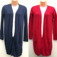 Ladies Ex PER UNA M&S Long Wool Blend Cardigan Navy Blue or Red Sizes 6-18