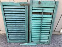 Antique Vintage Shutters Wood Window Louvered - Blue-Green