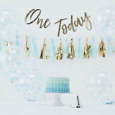 Blue Gold Baby Boy 1st Birthday Party Decorations Cake Smash Kit Photo  Backdrop ab2fc71e5dd1