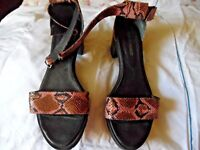 Won Hundred for Plumo - Pink Snakeskin Print Chunky Leather Ankle strap sandals