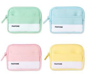 "PANTONE Mini Pocket Pouch Wallet AirPods Case Mint Sky Pink Yellow 4.7"" x 3.5"""