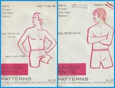 Vintage 70s Mens Trunks Kandel Knits Sewing  Patterns Lot of 2