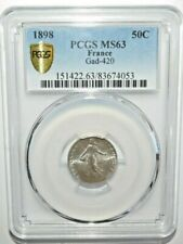 1898 FRANCE 50 CENTIMES PCGS MS63 Silver <KM#854>