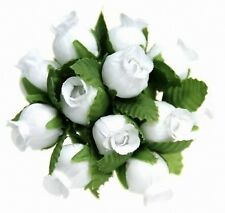 144 Miniature Poly Rose Silk Favor Flower Pick Wedding Shower - White