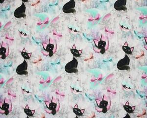Large Fat Quarter Little Johnny Magical Cat Halloween Witches Hat 100% Cotton