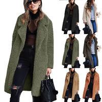 Women's Teddy Bear Pocket Winter Long Fluffy Coat Fleece Fur Warm Jacket Outwear