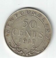NEWFOUNDLAND 1917C 50 CENTS KING GEORGE V CANADIAN STERLING SILVER COIN