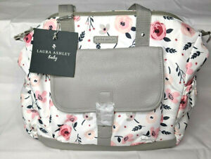 Laura Ashley Body Satchel Diaper Bag W/Changing Pad White/Pink Floral Pattern