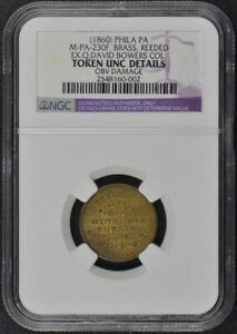 1860 Philly PA Wilder Coin Dealer Token Ex- Q. David Bowers NGC UNC Details