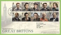 G.B. 2013 Great Britons set on Royal Mail First Day Cover, Tallents House