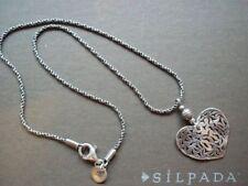 Silpada N1585 Filigree Heart Pendant Necklace Sterling Silver 925 Retired