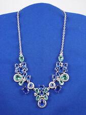 Carolee Silvertone NASSAU NIGHTS Blue Aqua Crystal Collar Necklace N7284-4160