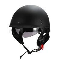 S Motorcycle Goggles Half Face Helmet Sun Visor Lens German Style Dot Matt Black