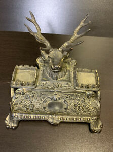 Antique Brass Deer Double Inkwell With Pen Holder