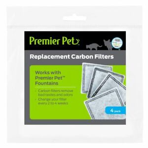 Premier Pet 4-PK REPLACEMENT CARBON WATER FILTERS Aqua Fountain Cube Falls HQ