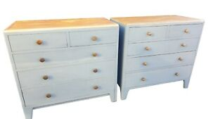 2 X PAIR PAINTED FIVE DRAWER CHEST OF DRAWERS