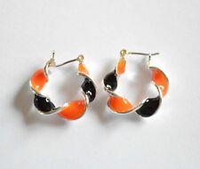 Halloween Hoop Earrings / Pin-Catch ~ Silver-tone / Black & Orange