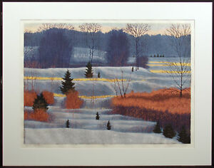 "Gordon Mortensen ""Late Winter"" Hand Signed Woodcut Reduction, snowy fields, OBO"