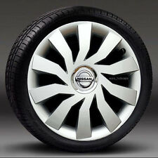 "Conjunto de 4 14/"" Plata Adornos//Tapacubos de rueda se ajusta Nissan Micra Almera Nota Pixo"