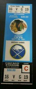 1991 CHICAGO BLACKHAWKS NHL HOCKEY FULL SEASON TICKET VS THE BUFFALO SABRES