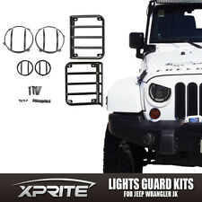 2007-2018 Jeep Wrangler JK Black Light Guard 6 Pieces Kit For Front Headlights