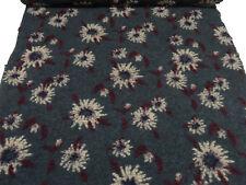 Stoff Ital. Musterwalk Walkloden Relief Blumen grau bordeaux beige lila