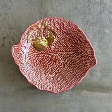Vintage Crown Devon Leaf Dish with Gold Tomatoes Red England 1940s English
