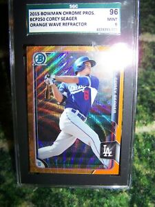 2015 BOWMAN CHROME PROS. COREY SEAGER~ORANGE WAVE REFRACTOR SGC MINT 9 !