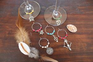Wine Glass Rings Gorgeous Coloured Flower Leaf Buddha Handmade Rings Set of 6