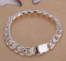 "Fashion 9"" Women's Mens Stainless Steel Curb Bracelet Silver Cuban Link Chain"